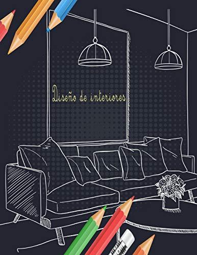 Diseño de interiores: Libro para colorear para adultos con diseños de casas...