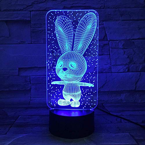 TIANXIAWUDI Square Rabbit 7 Colors Touch Cute Bunny Lamp/Touch Sensor Child Kids Baby Gift Night Light/Home Decor Lighting Rabbit LED Night Lights-Standing Rabbit_16 Color Remote Control