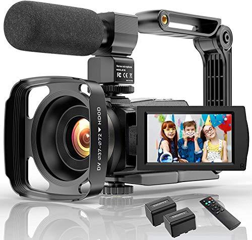 Videocámara 4K de 48 MP con Wi-Fi y visión nocturna infrarroja, cámara para blogs de vídeo con zoom digital 16X, videocámara con micrófono, soporte para cámara y parasol para objetivo