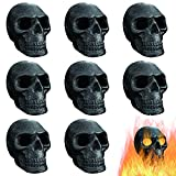 FYZTCOCPT Imitated Human Skull Gas Log for Indoor or Outdoor Fireplaces, Made of Metal, Durable for More Than 10 Years,Fire Pits Halloween Decor Skull Charcoal (Fireproof)(Refractory) (8 PCS)