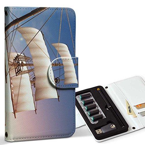 スマコレ ploom TECH プルームテック 専用 レザーケース 手帳型 タバコ ケース カバー 合皮 ケース カバー 収納 プルームケース デザイン 革 写真・風景 海 乗り物 イラスト 002842