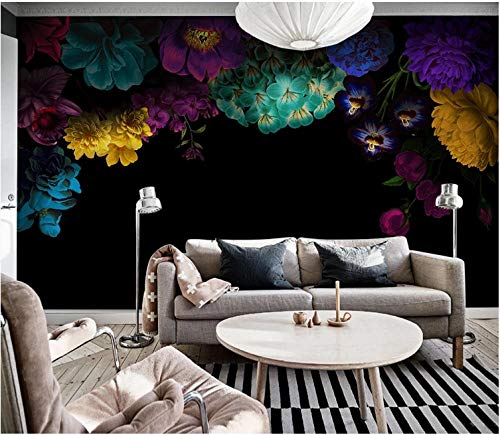 3D Wallpaper Canvas Art Print Wall Mural Poster Idyllic Colored Roses On Black Background Photo Wallpapers Murals Picture Design Modern 200X140Cm
