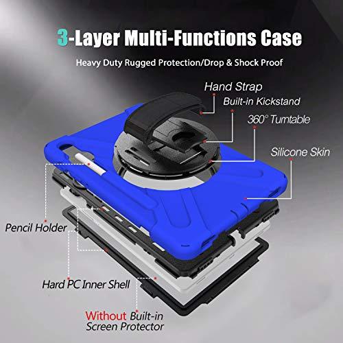 Gerutek Hülle Samsung Galaxy Tab S6 SM T860/SM T865 (10.5-Zoll), Stoßfeste Robust Panzerhülle mit Stifthalter, Drehbar Stände, Handschlaufe, Schultergurt Schutzhülle für Samsung Tab S6 10.5, Blau