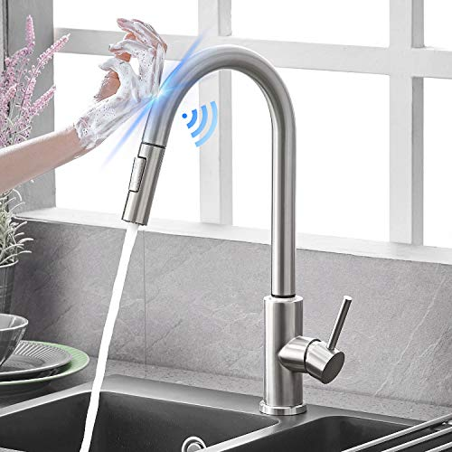 Qomolangma Touch Sensor Kitchen Faucets with Pull Down Sprayer, Touch On Single Handle Kitchen Sink Faucet with Pull Out Sprayer, Stainless Steel, Fingerprint Resistant,Brushed Nickel