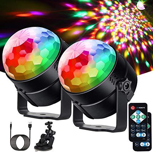 Litake Discokugel Discolicht LED(Upgrade 6 LED),2 Stück Partylicht 7 Farben Modi Musikgesteuert Bühnenbeleuchtung mit Fernbedienung 4M USB Kabel 360°Rotierenden für Kinder Party Halloween Weihnachten
