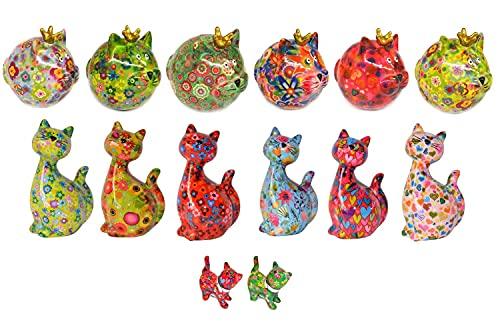 netproshop Spaarpot kat van keramiek Pomme Pidou Sabo Design, selectie: Cat Caramel/lichtblauw/bloemen