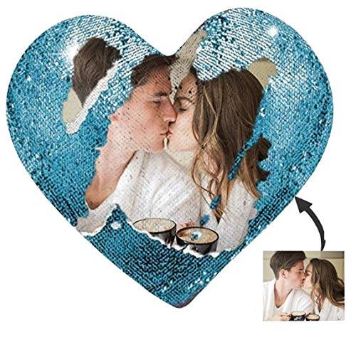 Kiko-ershaa Cuscino Paillettes Personalizzato Reversibili con Foto Cuscino con Stampa Fotografica a Forma di Cuore Magic Reveal per Regalo