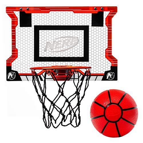 NERF Basketball Hoop Set - Pro Hoop Mini Hoop Set with Mini Basketball - Steel Rim Great for Dunking - Over The Door Basketball Hoops