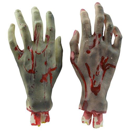 LUOEM Piezas humanas picadas Manos sangrientas asustadizas Decoraciones del Partido de Halloween Prop Día de los Inocentes Decoración del Partido de los Niños de Halloween (Manos Negras)