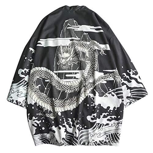Kimono Cardigan for Mens, F_Gotal Men's Japanese Kimono Shawl Collar Cardigan Kimono Jackets Open Front Drape Cape Coat Black