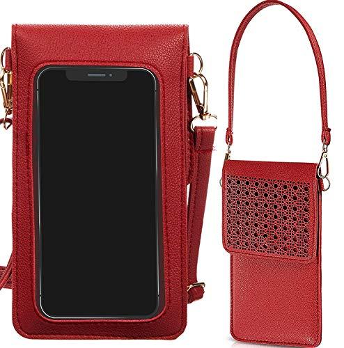 Handtasche mit Touchscreen, für Handy, Clutch, kleine Crossover-Tasche für Damen, für Galaxy S20 Ultra 5G, S20 Plus, S20, Note 20 Ultra, A11 A51 A71 A10S A20 A50 Note 10 Plus Note 9 S10+ (rot)