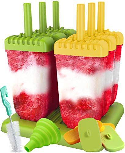 Lebice Popsicle Molds Set - BPA Free - 6 Ice Pop Makers + 6 Extra Silicone Lids + Silicone Funnel + Cleaning Brush + Recipes E-book