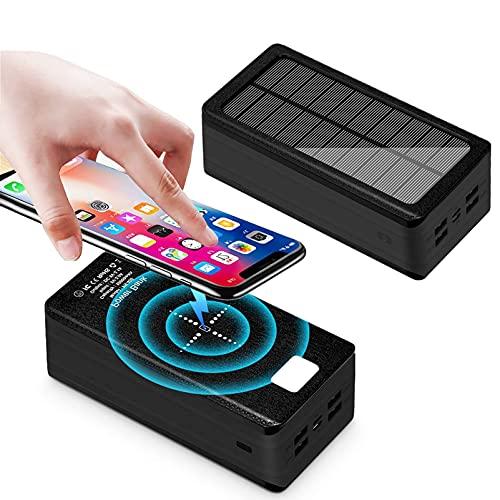 YLDXP Cargador inalámbrico de 5W Banco de energía Solar 50000mah, Cargador Solar 4 2.1A USB Cargador de energía de Carga rápida [Entradas Tipo C y Micro USB] Paquete de batería Externa móvil al ai