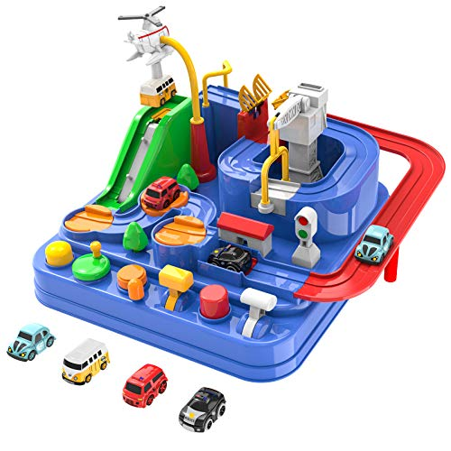 Toddler Toys for 3 4 5 Years Old Boys Girls, Car Adventure Toys City Rescue with 4 Mini Cars,Race Tracks car toys for Boys age 3-5, Birthday Gifts for 3-5 Year Old Boys Girls
