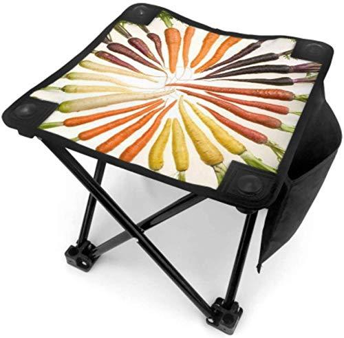 Kay Sam Taburete Plegable pequeño para Acampar, sillas de Pesca para Exteriores, Zanahorias, Variedad de Verduras, Vegetales, Plantas, sillas para Exteriores