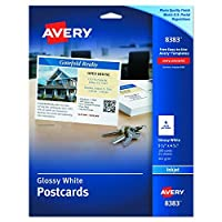 Avery 8383 Photo-Quality Glossy Postcards for Inkjet Printers 4 1/4 x 5 1/2 White (Pack of 100) [並行輸入品]