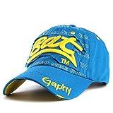 Sombreros Snapback Sombreros de Gorra de béisbol Sombreros Ajustados de Hip Hoppara Hombres Mujeres Gorras Sombreros de ala Curva Gorro de daños-Blue-Adjustable