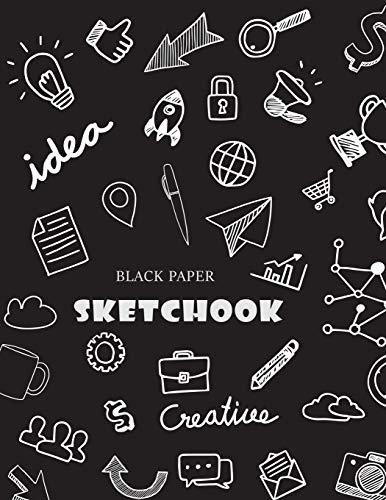 Black Paper Sketchbook: Large Drawing Book for Gel, Chalk, Metallic & Neon Highlighters & Sharpies, 120 Pages (Black Paper Sketchbooks & Notebooks, Band 2)
