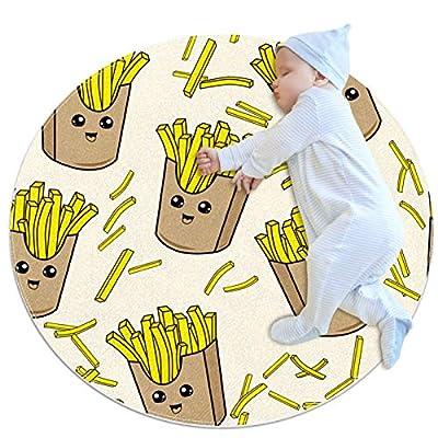 huhulala Tapis pour bébé - Tapis d'éveil - Multi-tailles - Rond - Tapis de jeu - Tapis d'activité - Tapis de jeu - Décoration de chambre - Frites
