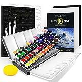 Magicfly Set de Pintura de Acuarela, 48 Colores Caja de Acuarelas (incluye Colores Metálica, Neón y Perlados), Kit de Pintura de Acuarela con 3 Pinceles, 10 Papel, Paleta y Esponja para Niños