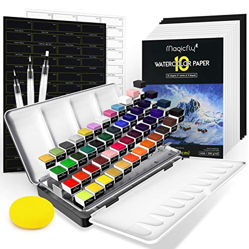 Magicfly Watercolour Paint Set, 48 Colours Paint Set for Adults (with...