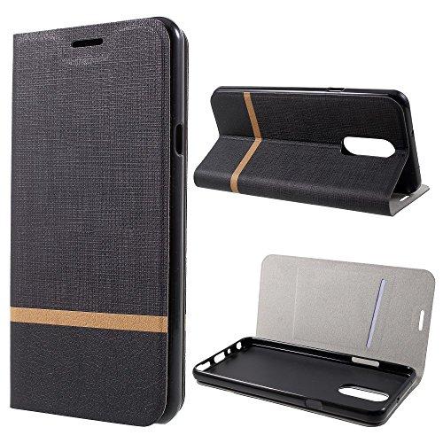 jbTec Handy Hülle Hülle Stoff-Erscheinungsbild - Handyhülle Schutzhülle Phone Cover Tasche Handytasche Zubehör Smartphone Flip, Farbe:Schwarz, passend für:LG Q Stylus