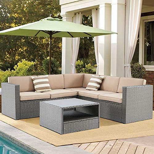 SUNCROWN Outdoor 4-Piece Furniture Sectional Sofa Set All Weather Grey Wicker with Washable Seat Cushions and Modern Glass Coffee Table, Brown