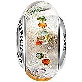 SOUFEEL Charm Abalorio Plata de Ley Cristal de Murano para Pulsera Regalo para Familia Mujer en Anivesario o Cumpleaños