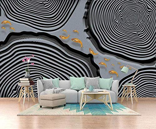 Mural Wallpaper Photo Poster Wall DecorationSchool Fish Tree LoopBackground Wall Background Painting Panorama 3D Wall Mural Decor 300 * 450cm