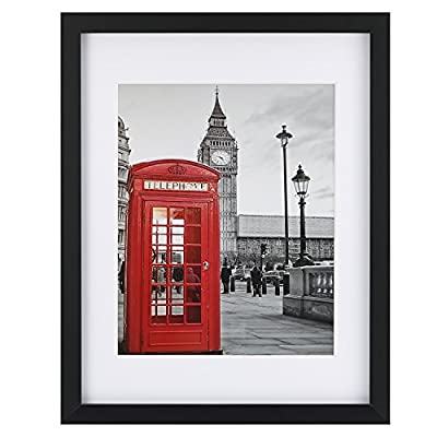 ONE WALL Tempered Glass 11x14 Black Picture Frames Display Pictures 8x10 or 5x7 with Mats or 11x14 Without Mat, Solid Wood Photo Frames for Wall and Tabletop - Mounting Hardware Included