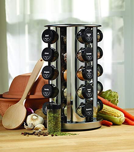 Kamenstein Revolving 20-Jar Countertop Rack Tower Organizer with Free Spice Refills for 5 Years, Silver