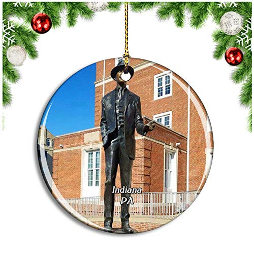 Weekino Indiana James M. Stewart Museum Pennsylvania USA Christmas Ornament Xmas Tree Decoration Hanging Pendant Travel Souvenir Collection Double Sided Porcelain 2.85 Inch