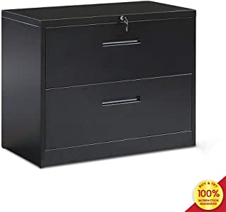 MOOSENG, 2 Drawer Lateral File Cabinet with Lockable System, Office Home Storage File Cabinet, Metal Organizer with Heavy Duty Hanging Filing Frame for Legal & Business Files, Black