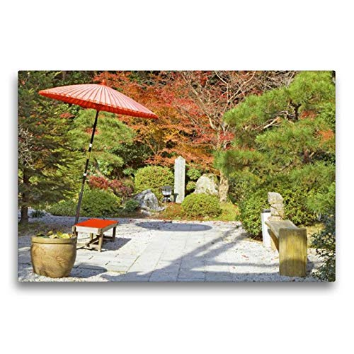 Calvendo Premium Textil-Leinwand 75 cm x 50 cm quer, Eine Oase der Ruhe - EIN japanischer Teegarten im Herbst mit rotem Sonneschirm und Kleiner Sitzbank | Otsu City, Shiga, Japan Kunst Kunst