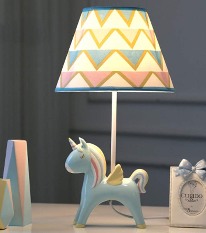XiuXiu Kinderzimmer Cartoon Einhorn LED Tischlampe Schlafzimmer Kreative Romantische Warme Nette Junge Mdchen Nachttischlampe (Farbe   Blau-A)