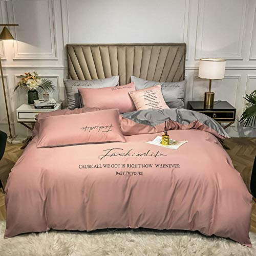 Homehold Sheets Set,Four-sided washed silk four-piece embroidery bedding silky naked sleeping kit solid color small fresh light luxury color matching-Light bean paste + light gray_1.5m bed quilt cove