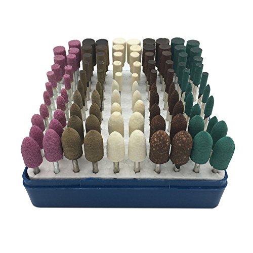HYCC 100stück Multifunktionale Wolle/Sesam/Gummi/Rindsleder Schleifsteine Punkte Elektrische Schleifen Polieren Zubehör Befestigung Mixed Set - Fit Dremel-1/8''(3mm) Shank