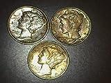 1944 1943 S 1945 Mercury Dimes - Set of 3 Coins - Toning 10c BU US Mint