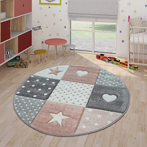 Paco Home Tapis Enfant Couleurs Pastel À Carreaux Points Coeurs Étoiles Blanc Gris Rose, Dimension:Ø 120 cm Rond