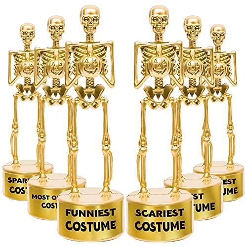 6 Halloween Best Costume Skeleton Trophy, Halloween Skull Party Favor Prizes, Halloween Party Supplies Gold Bones Game Awards, Costume Contest Event Trophy, School Classroom Rewards for Kids