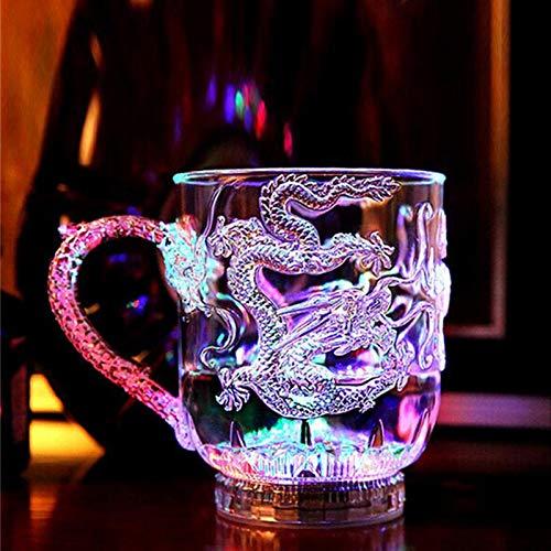Chanety,taza de agua aislada,taza de agua 2020 plástico brillante vino vino copa copa dragón led taza led tumbler arco iris color parpadeando luz de gota de gota regalo creativo taza de agua plegable