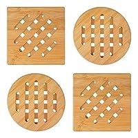 sottopentole 4 pezzi naturale isolante bambù legna sottopentola piazza il giro tovaglietta antiscivolo sottobicchieri per casa cucina tavolo teiera padelle piatto piatti pentole ciotola