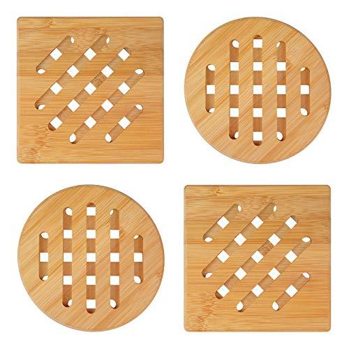 yue Hitzebeständiger Bambus Tischset Natürliche waschbare Untersetzer 4er Set waschbare Untersetzer für Töpfe Teller Schalen Pfannen Schüsseln Essgeschirr (2 x quadratisch und 2 x rund, 15 cm)