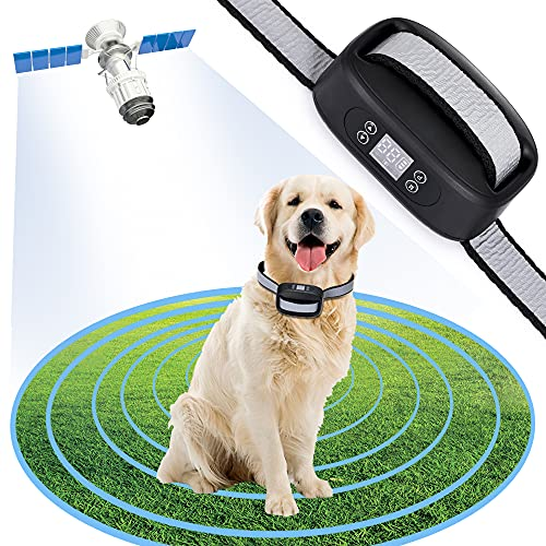 WIEZ GPS Wireless Dog Fence,ElectricDog Fence with GPS, Range 100-3300ft, Adjustable Warning Strength, Rechargeable, Pet Containment System, Harmlessand Suitable for All Dogs