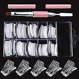 Ebanku Unghie Finte Nail System Form 100 pezzi, Prolunga per Unghie in Gel poli Set con selettore di spazzola in poligel a doppia estremità da 1 pz e clip per punte da 5 pezzi
