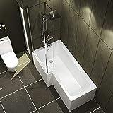 Qubix 1600 x 850mm Left Hand L-Shaped Shower Bath Bathtub with Front Panel + Glass Shower Screen