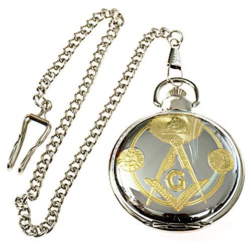 Square & Compass Sun & Moon Masonic Pocket Watch - [Silver & Gold][2'' Diameter]