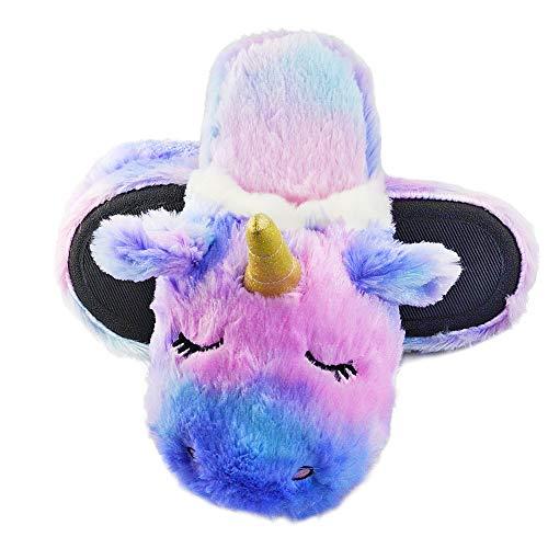 Girls' Cozy Plush Unicorn Comfortable Faux Fur Slippers 5-6 US Purple