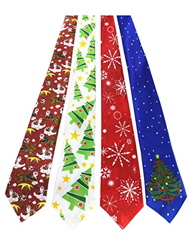 JEMYGINS Original 4PCS One-off Christmas Trees Snowflake Tie Mens and boys Necktie for Festival (1)