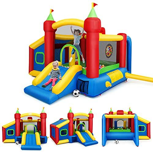 GOPLUS Château Gonflable pour Enfant de 3 à 10 Ans,avec 6 Types de Jeu Différents en Tissu Oxford, 6 Piquets de Fixation et Un Sac de Transportation, 380 x 305 x 215CM(Pompe Air Non-Incluse)
